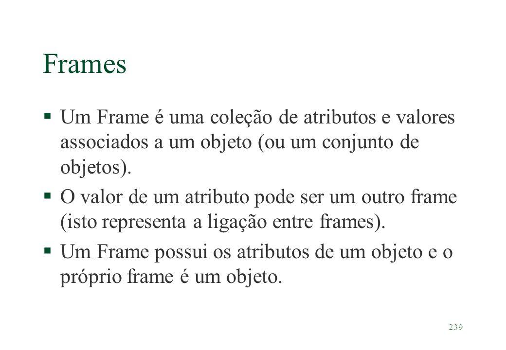 Frames Um Frame é uma coleção de atributos e valores associados a um objeto (ou um conjunto de objetos).