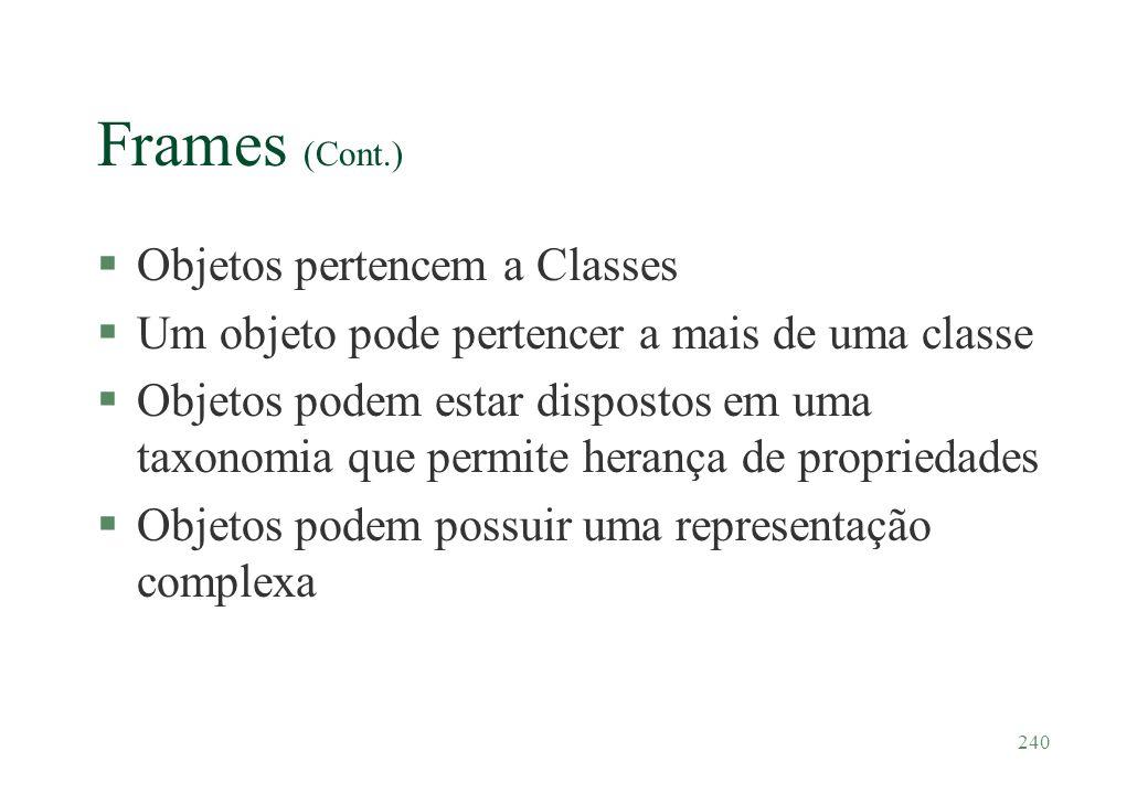 Frames (Cont.) Objetos pertencem a Classes