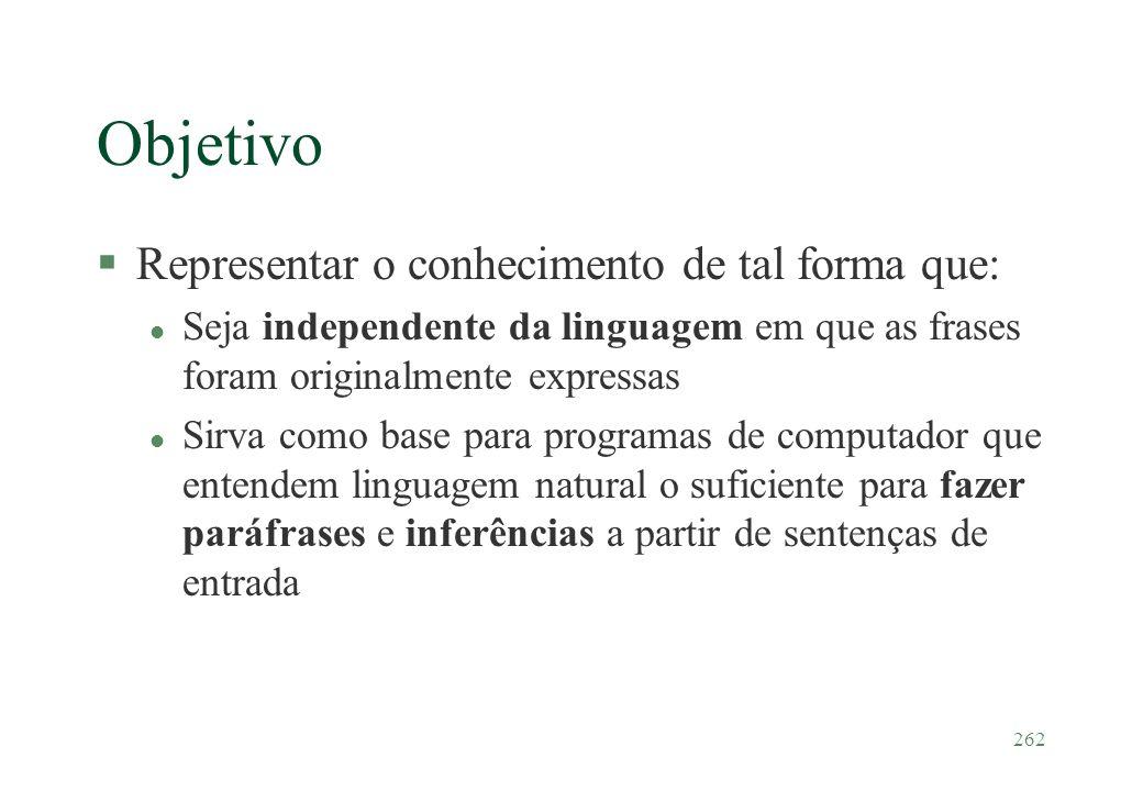 Objetivo Representar o conhecimento de tal forma que:
