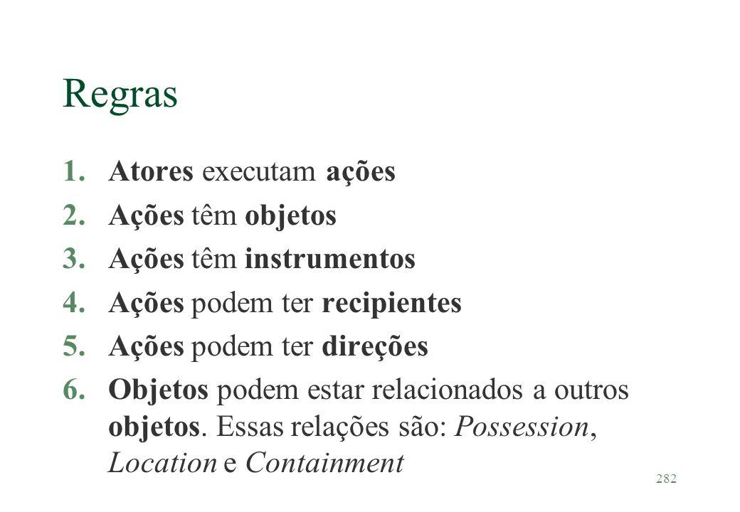 Regras Atores executam ações Ações têm objetos Ações têm instrumentos