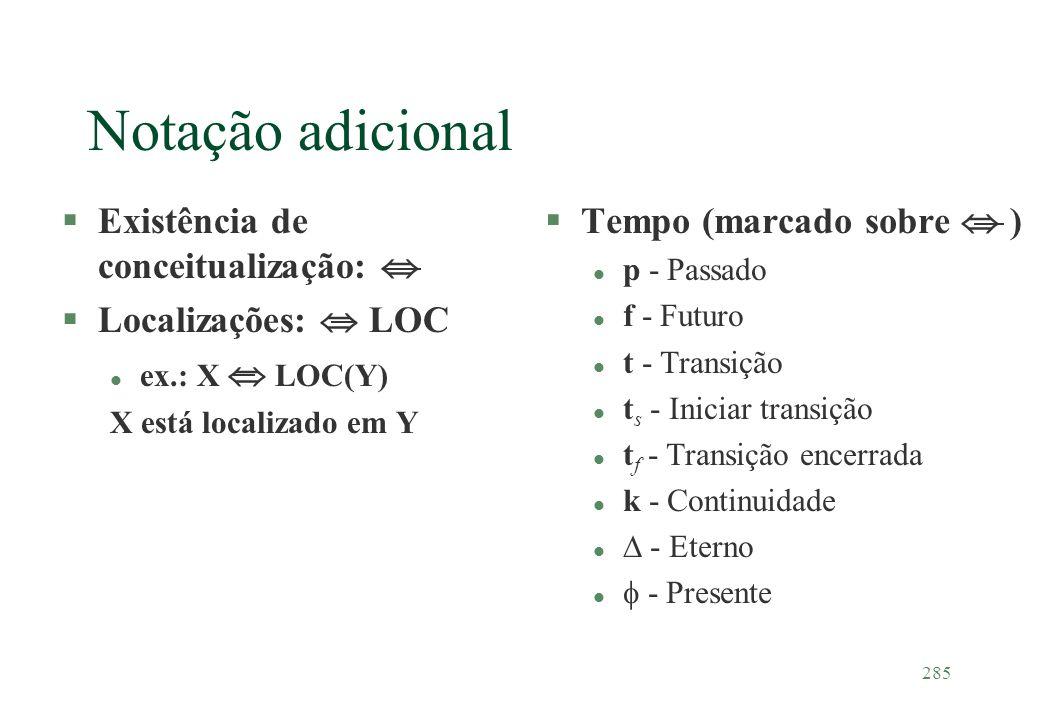 Notação adicional Existência de conceitualização: 