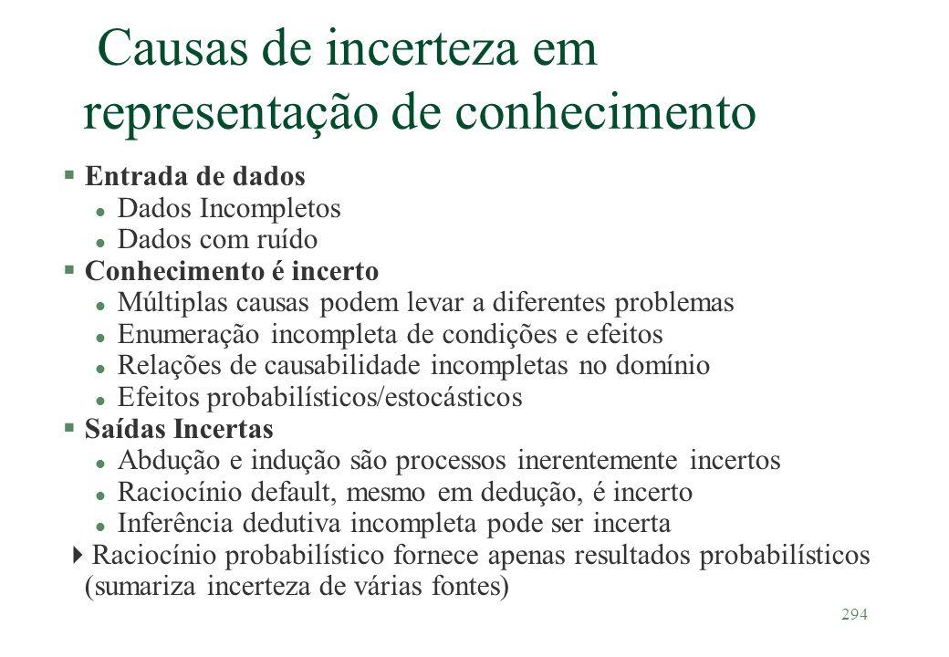 Causas de incerteza em representação de conhecimento