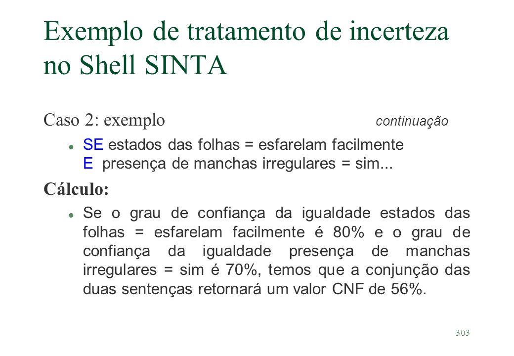 Exemplo de tratamento de incerteza no Shell SINTA