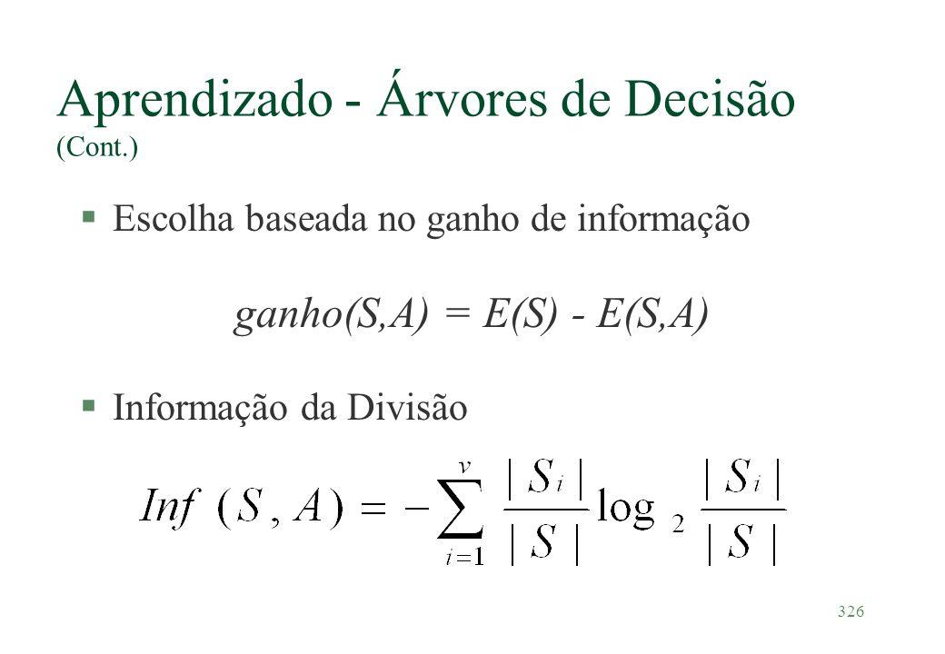 Aprendizado - Árvores de Decisão (Cont.)
