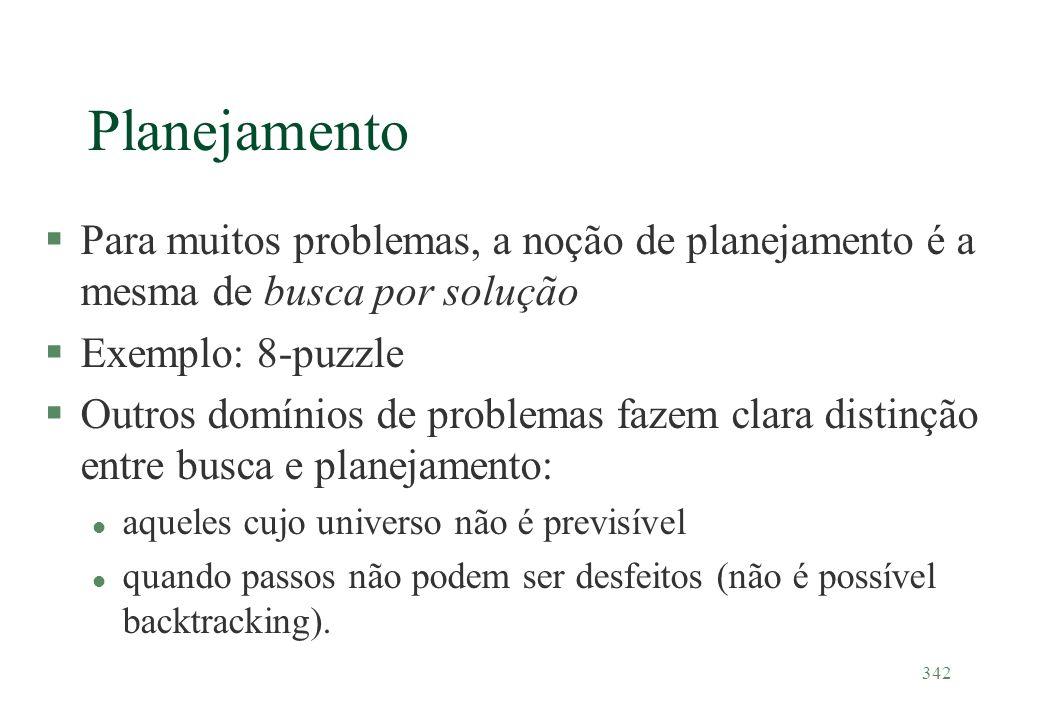 Planejamento Para muitos problemas, a noção de planejamento é a mesma de busca por solução. Exemplo: 8-puzzle.