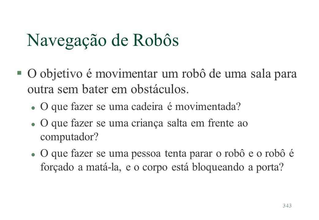 Navegação de Robôs O objetivo é movimentar um robô de uma sala para outra sem bater em obstáculos. O que fazer se uma cadeira é movimentada