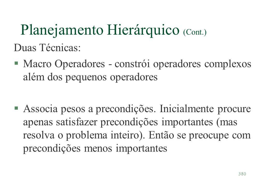 Planejamento Hierárquico (Cont.)