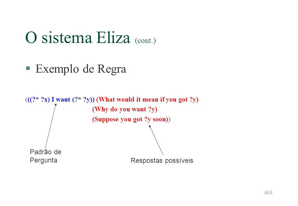 O sistema Eliza (cont.) Exemplo de Regra