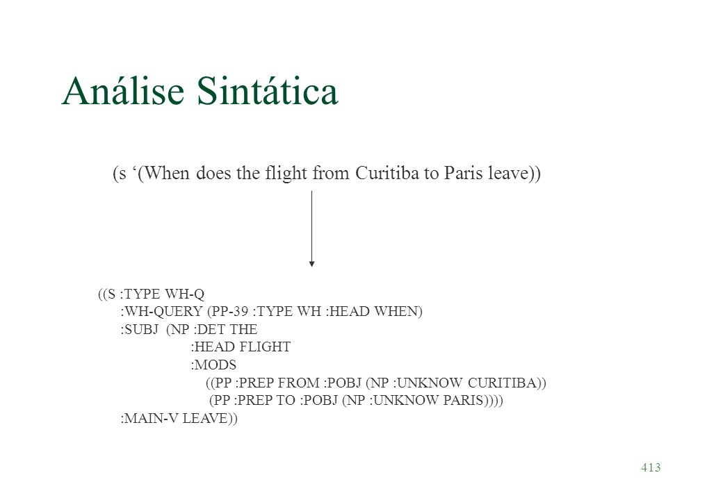 Análise Sintática (s '(When does the flight from Curitiba to Paris leave)) ((S :TYPE WH-Q. :WH-QUERY (PP-39 :TYPE WH :HEAD WHEN)
