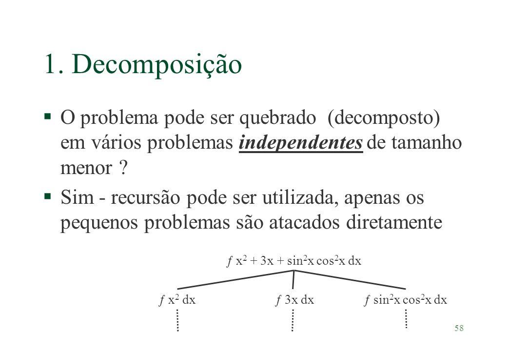 1. Decomposição O problema pode ser quebrado (decomposto) em vários problemas independentes de tamanho menor