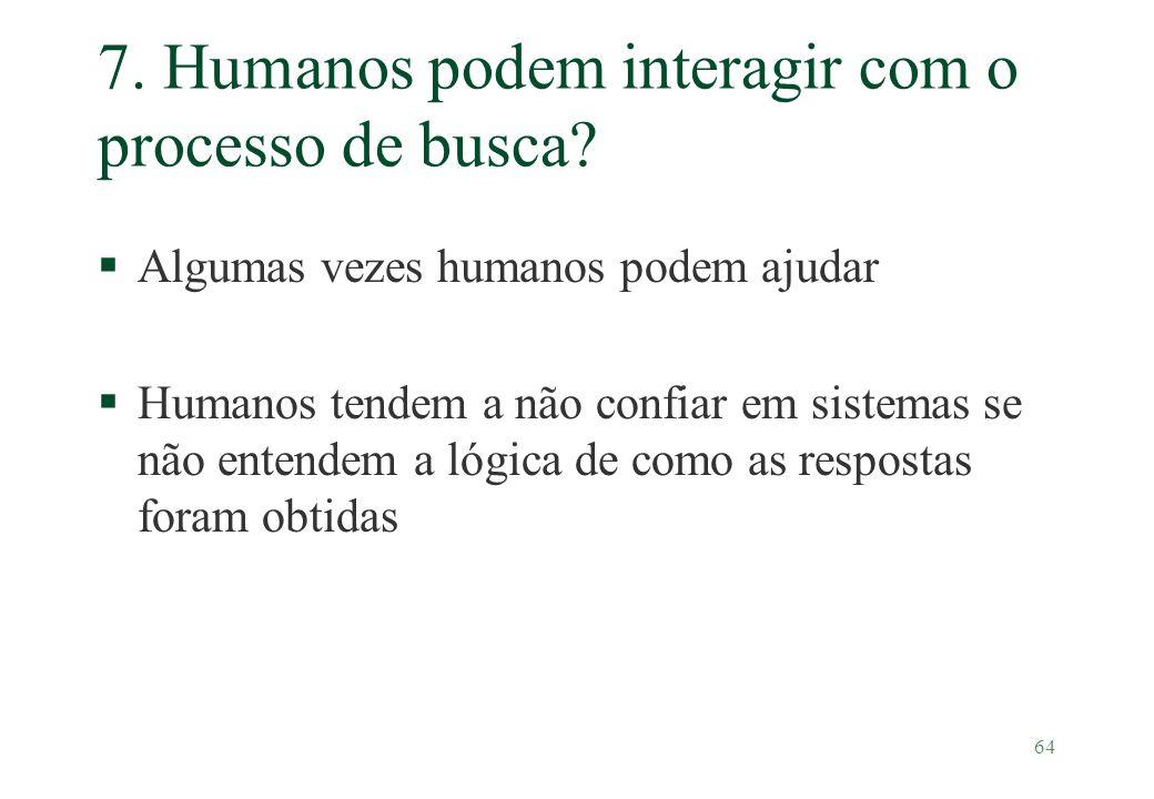 7. Humanos podem interagir com o processo de busca