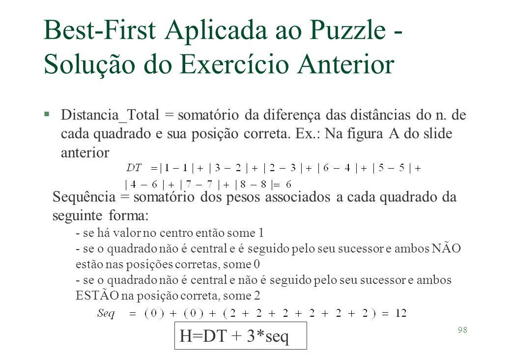 Best-First Aplicada ao Puzzle - Solução do Exercício Anterior