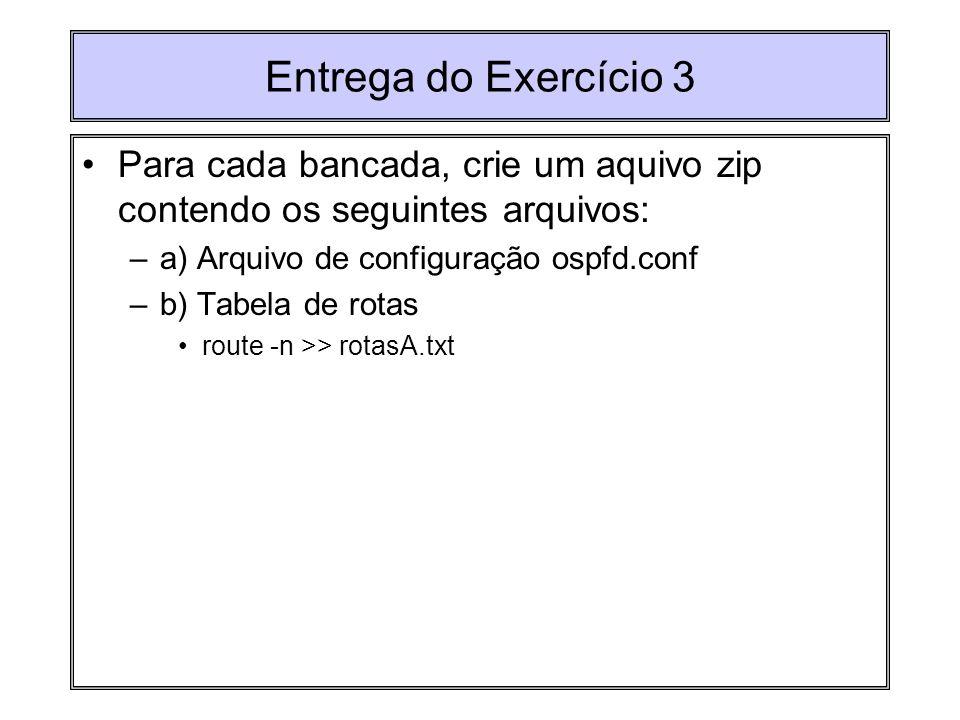 Entrega do Exercício 3Para cada bancada, crie um aquivo zip contendo os seguintes arquivos: a) Arquivo de configuração ospfd.conf.