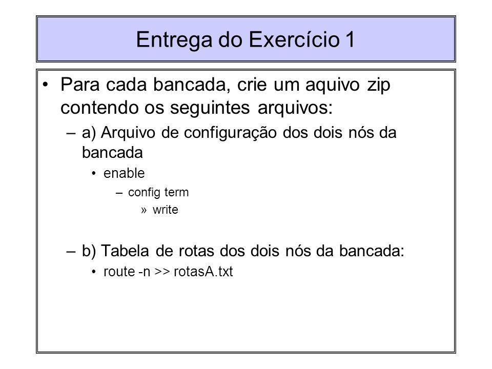 Entrega do Exercício 1 Para cada bancada, crie um aquivo zip contendo os seguintes arquivos: a) Arquivo de configuração dos dois nós da bancada.
