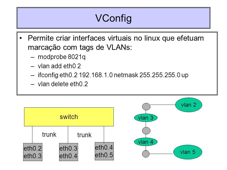 VConfig Permite criar interfaces virtuais no linux que efetuam marcação com tags de VLANs: modprobe 8021q.