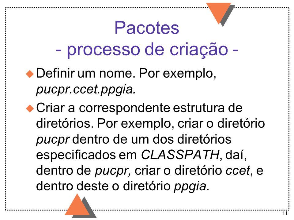 Pacotes - processo de criação -