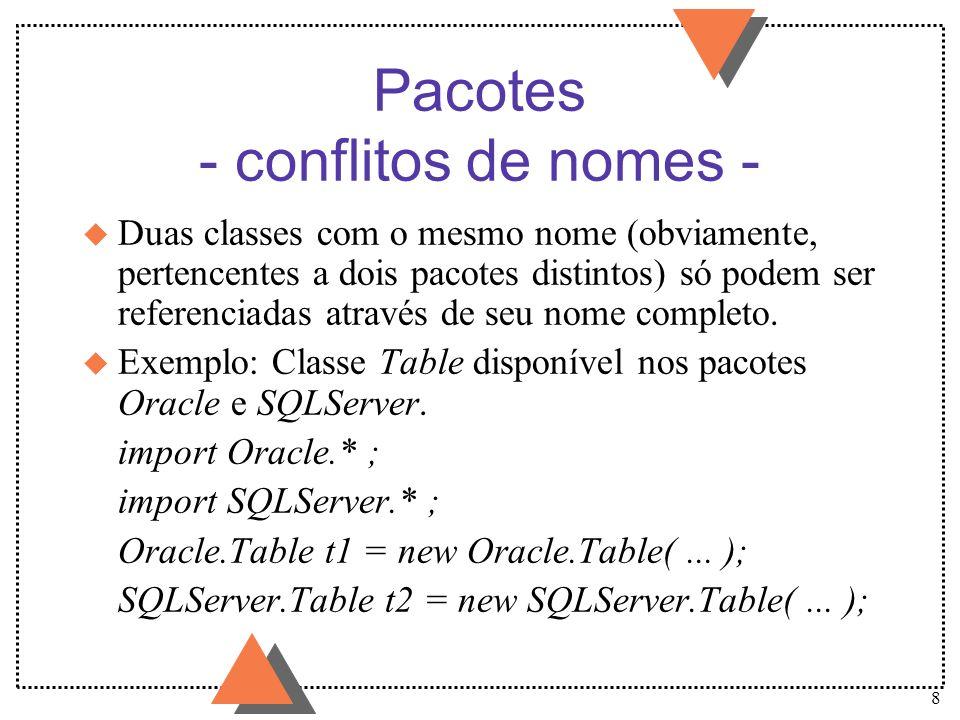 Pacotes - conflitos de nomes -