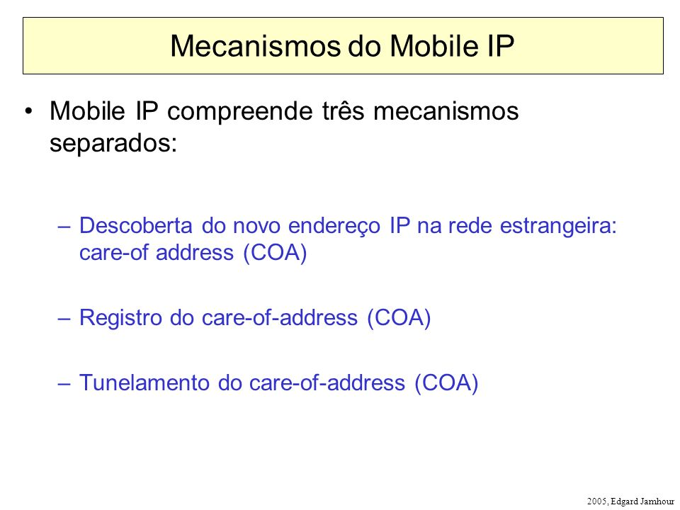 Mecanismos do Mobile IP
