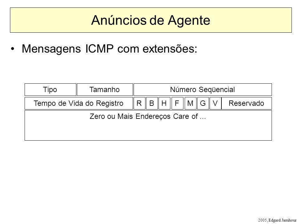 Anúncios de Agente Mensagens ICMP com extensões: Tipo Tamanho
