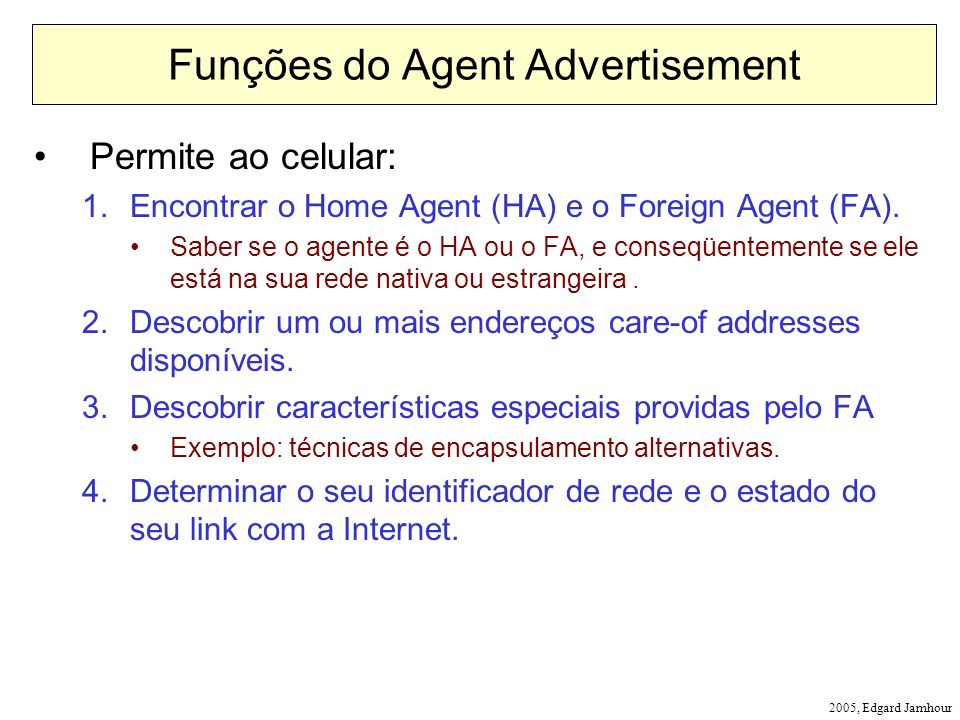 Funções do Agent Advertisement