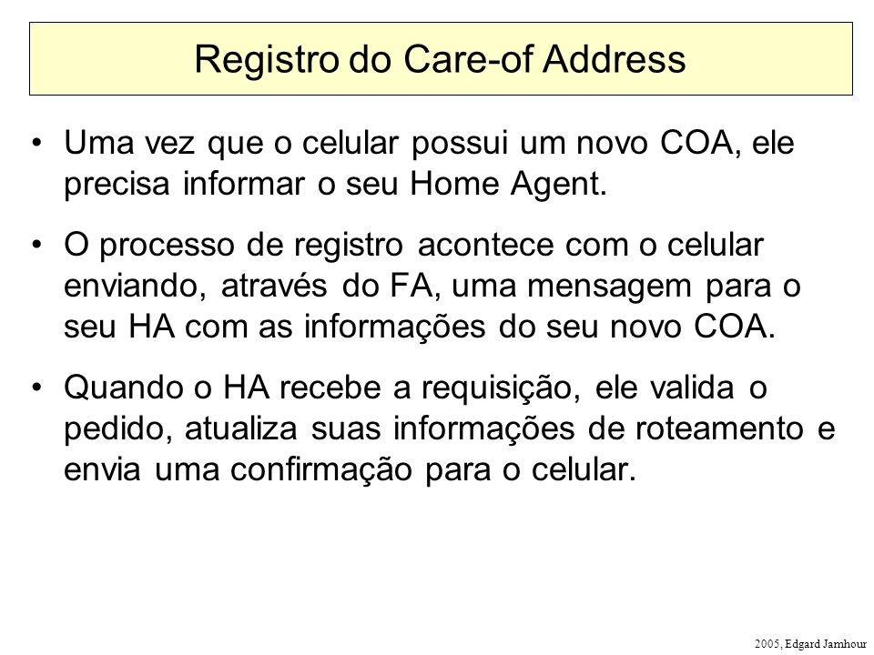 Registro do Care-of Address