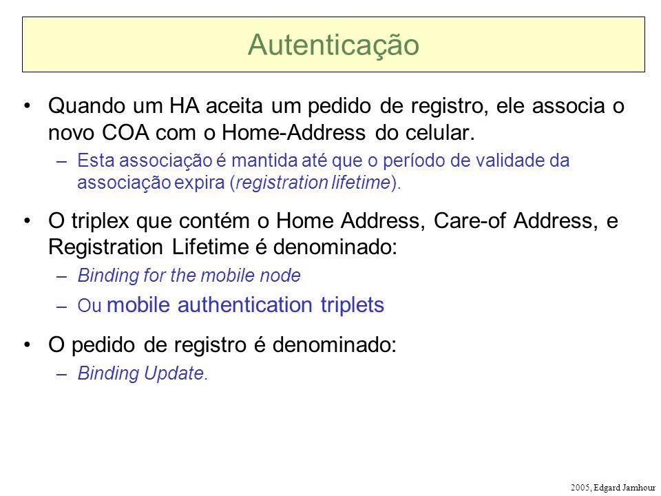 Autenticação Quando um HA aceita um pedido de registro, ele associa o novo COA com o Home-Address do celular.