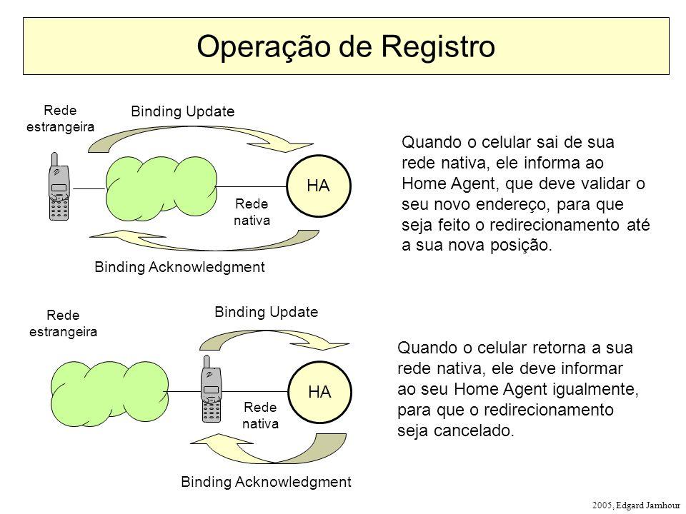 Operação de Registro Rede. estrangeira. Binding Update.