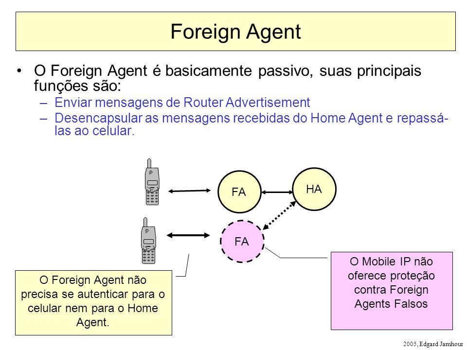 O Mobile IP não oferece proteção contra Foreign Agents Falsos