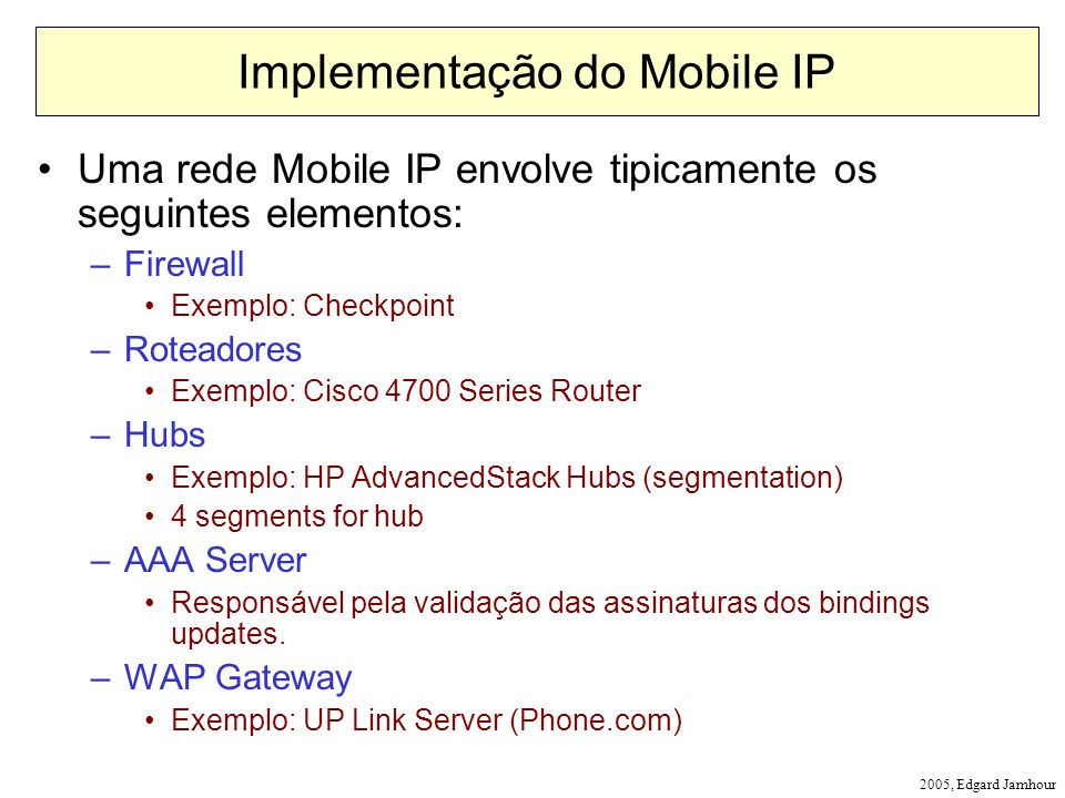 Implementação do Mobile IP