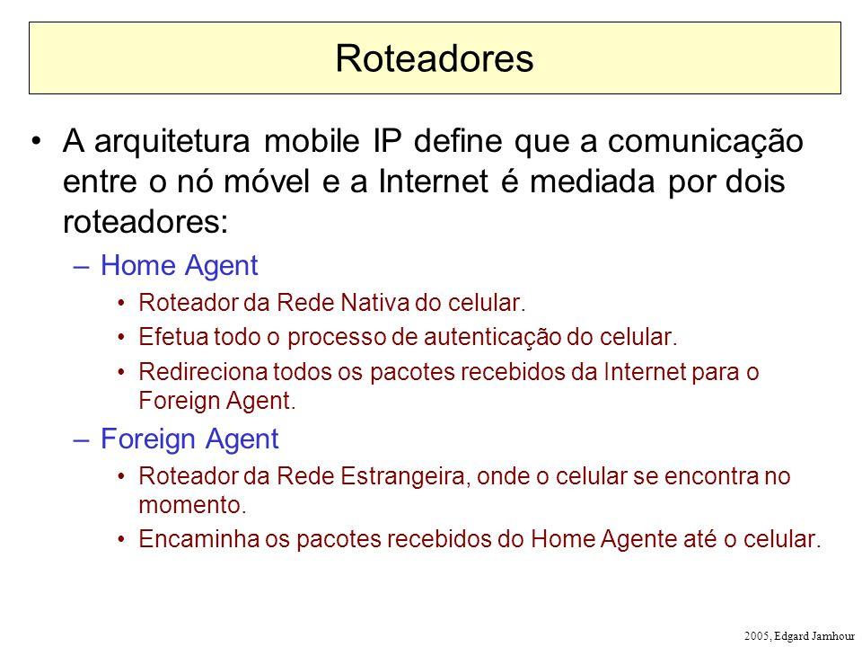Roteadores A arquitetura mobile IP define que a comunicação entre o nó móvel e a Internet é mediada por dois roteadores: