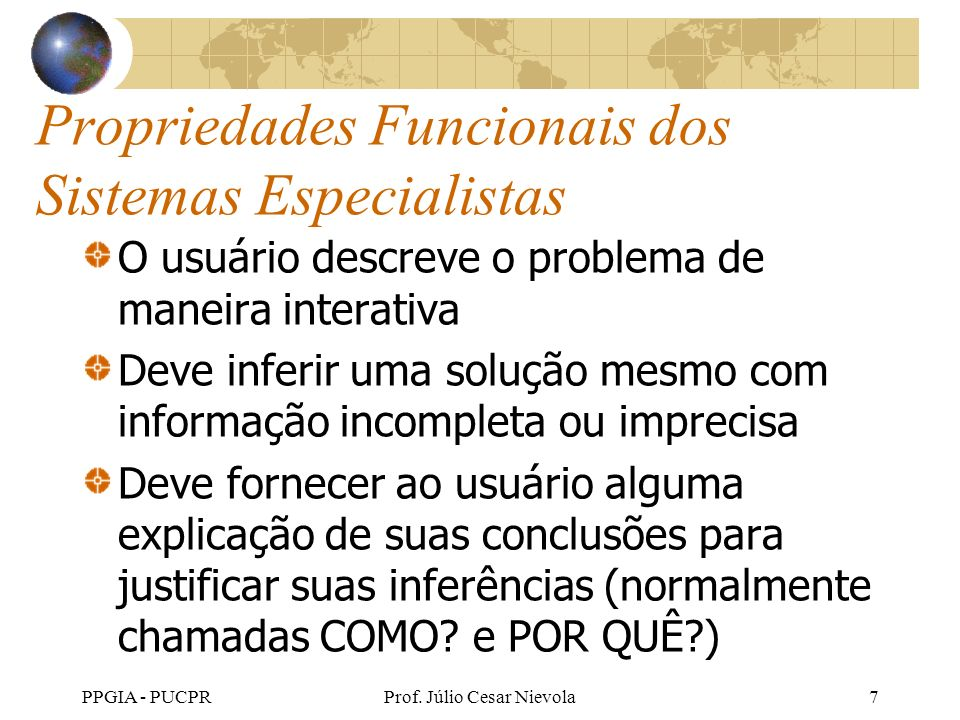 Propriedades Funcionais dos Sistemas Especialistas