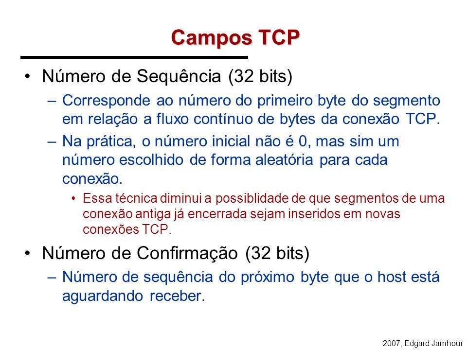 Campos TCP Número de Sequência (32 bits)