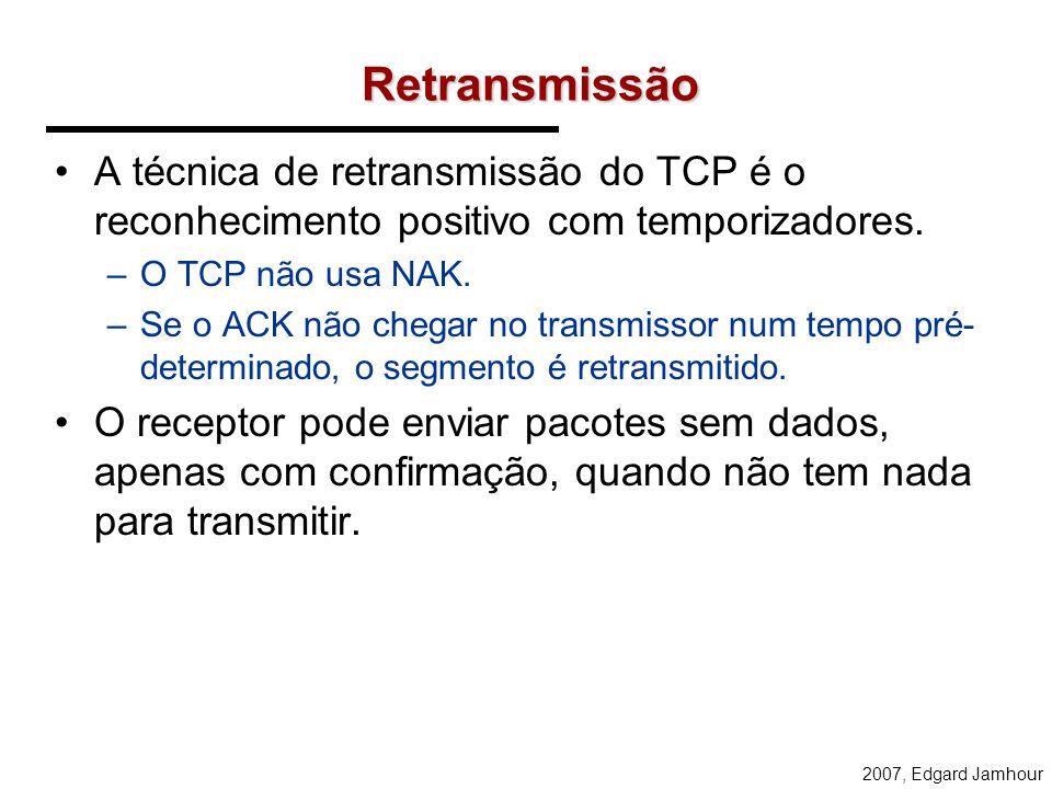 Retransmissão A técnica de retransmissão do TCP é o reconhecimento positivo com temporizadores. O TCP não usa NAK.
