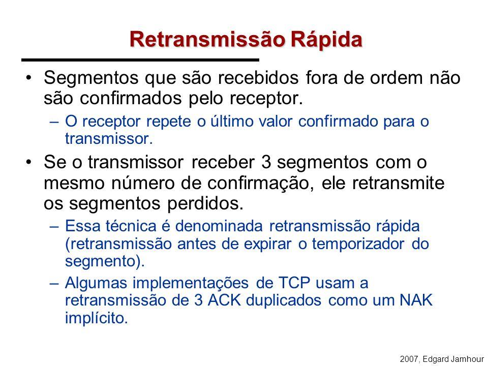 Retransmissão Rápida Segmentos que são recebidos fora de ordem não são confirmados pelo receptor.