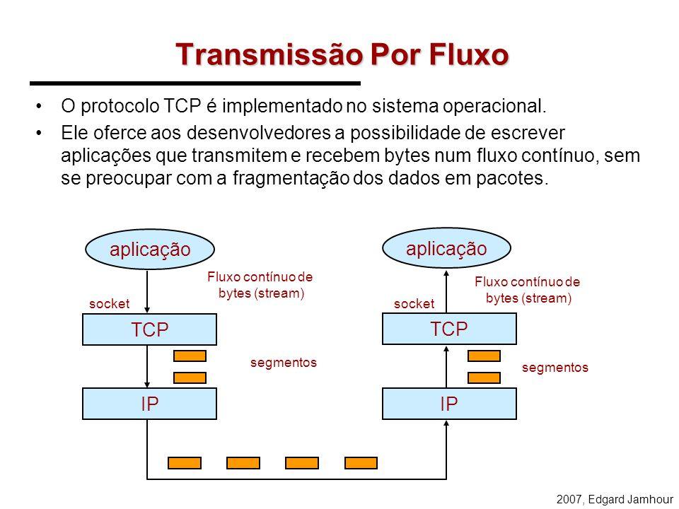 Transmissão Por Fluxo O protocolo TCP é implementado no sistema operacional.