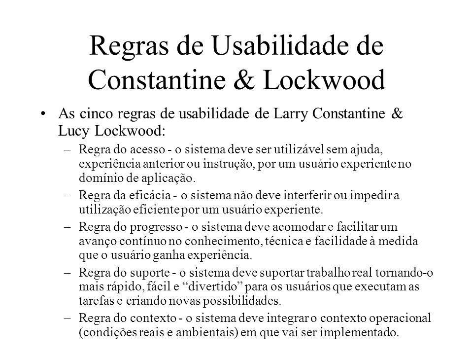Regras de Usabilidade de Constantine & Lockwood