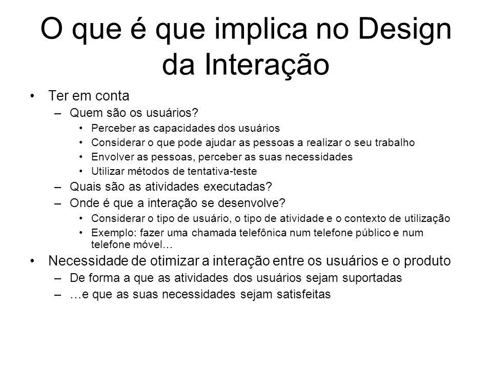 O que é que implica no Design da Interação