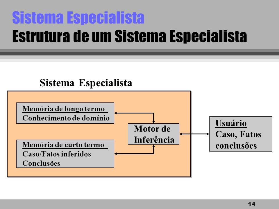Sistema Especialista Estrutura de um Sistema Especialista
