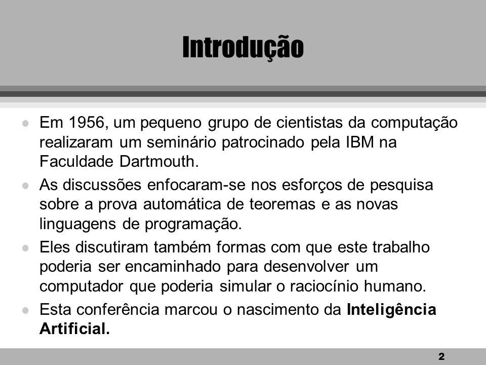 Introdução Em 1956, um pequeno grupo de cientistas da computação realizaram um seminário patrocinado pela IBM na Faculdade Dartmouth.