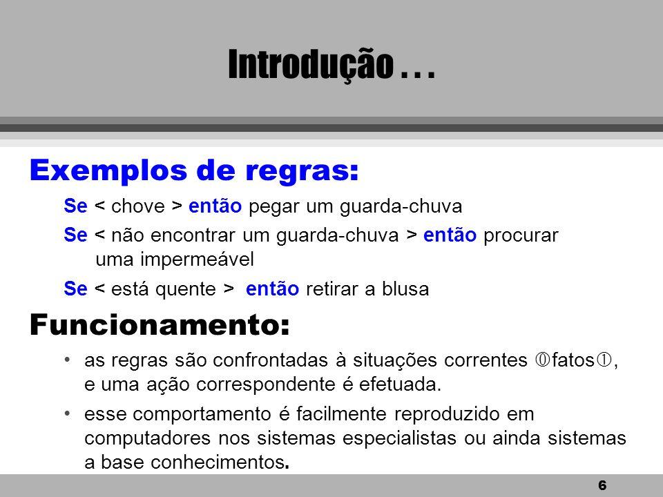 Introdução . . . Exemplos de regras: Funcionamento: