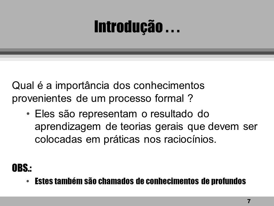 Introdução . . . Qual é a importância dos conhecimentos provenientes de um processo formal