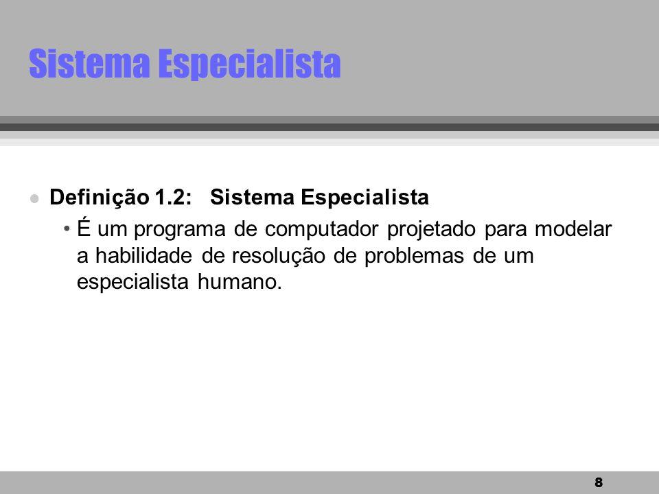 Sistema Especialista Definição 1.2: Sistema Especialista