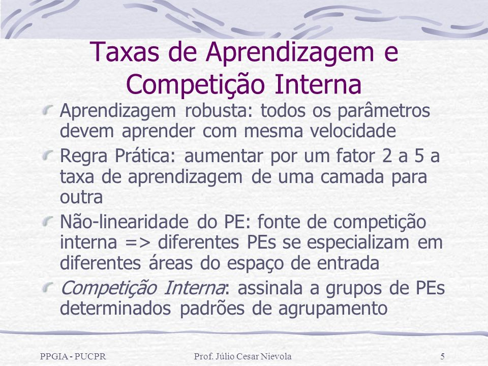 Taxas de Aprendizagem e Competição Interna