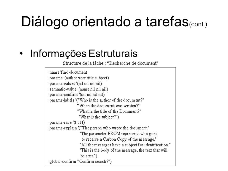 Diálogo orientado a tarefas(cont.)