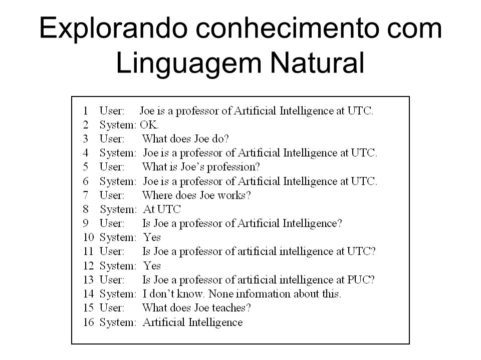 Explorando conhecimento com Linguagem Natural
