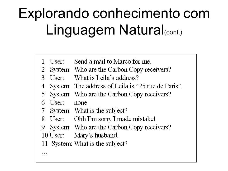 Explorando conhecimento com Linguagem Natural(cont.)