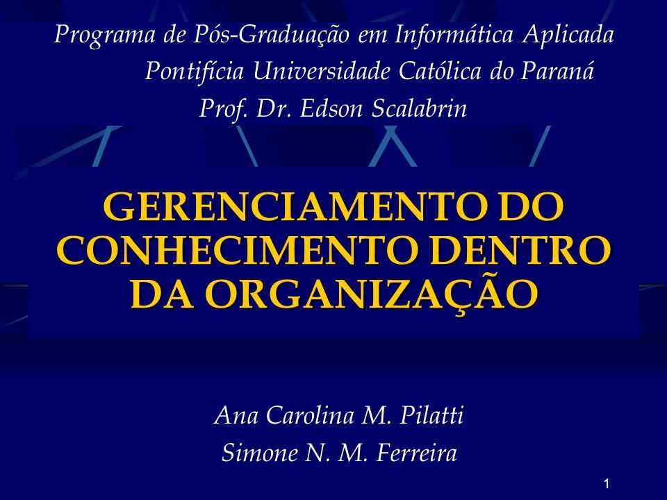 GERENCIAMENTO DO CONHECIMENTO DENTRO DA ORGANIZAÇÃO