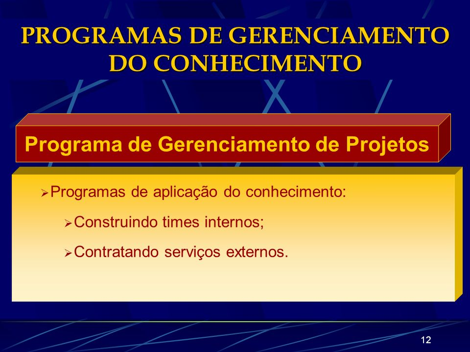 PROGRAMAS DE GERENCIAMENTO DO CONHECIMENTO