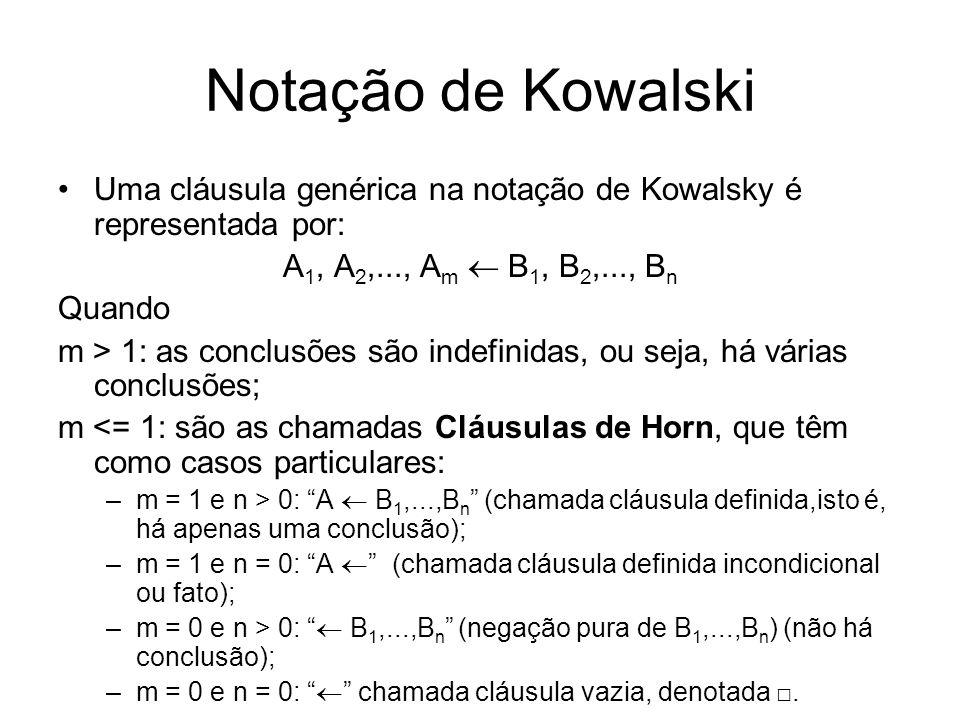 Notação de KowalskiUma cláusula genérica na notação de Kowalsky é representada por: A1, A2,..., Am  B1, B2,..., Bn.