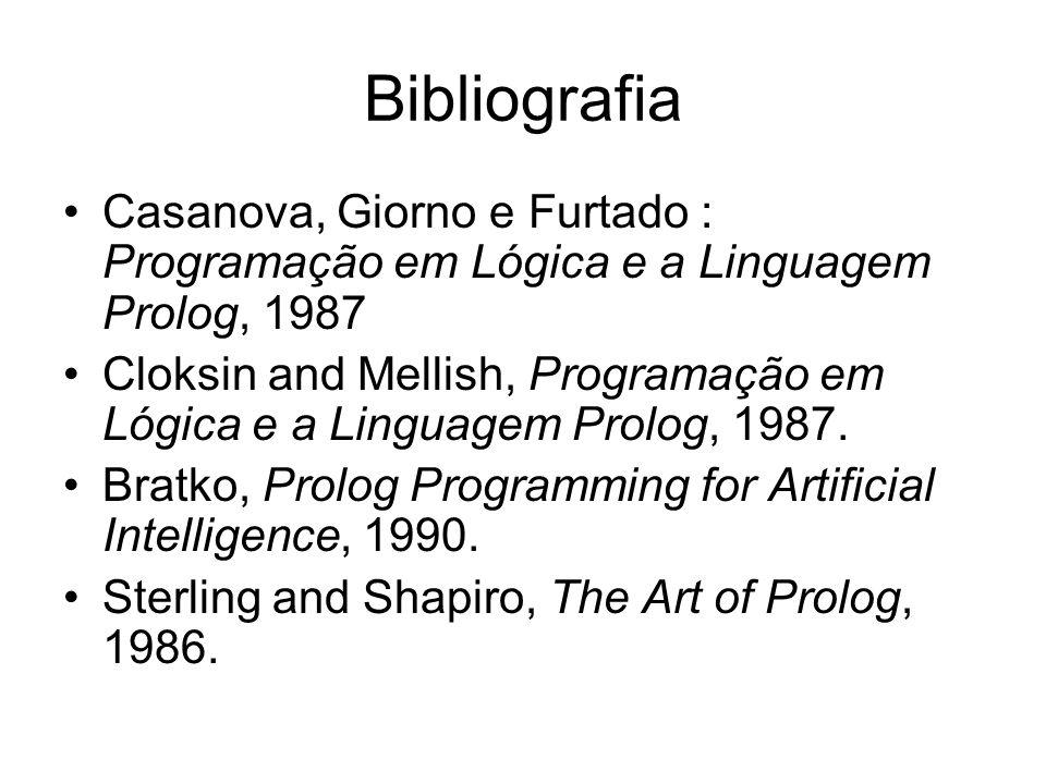 Bibliografia Casanova, Giorno e Furtado : Programação em Lógica e a Linguagem Prolog, 1987.